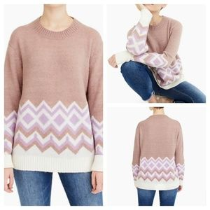 J.Crew Geometric Fair Isle Crewneck Sweater